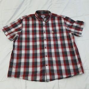 Carhartt Casual Work Shirt Mens XXL 2XL Red Gray
